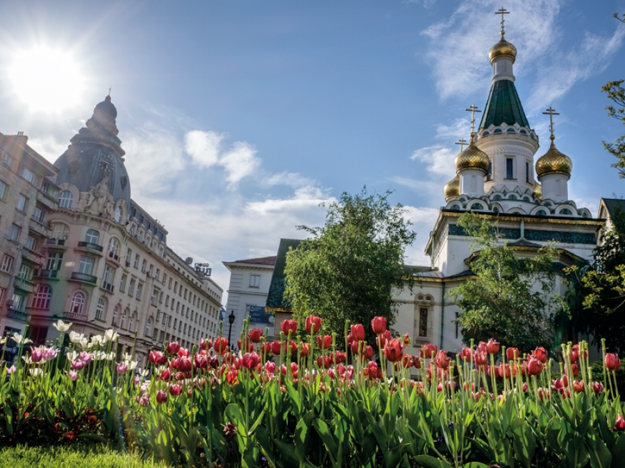 flower bed in front of Sofia Russian Chuch