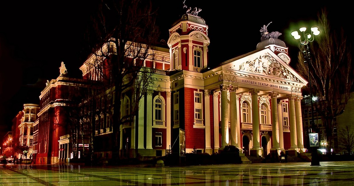 Sofia Evening Tour is showing a projector lit Vazov Theatre
