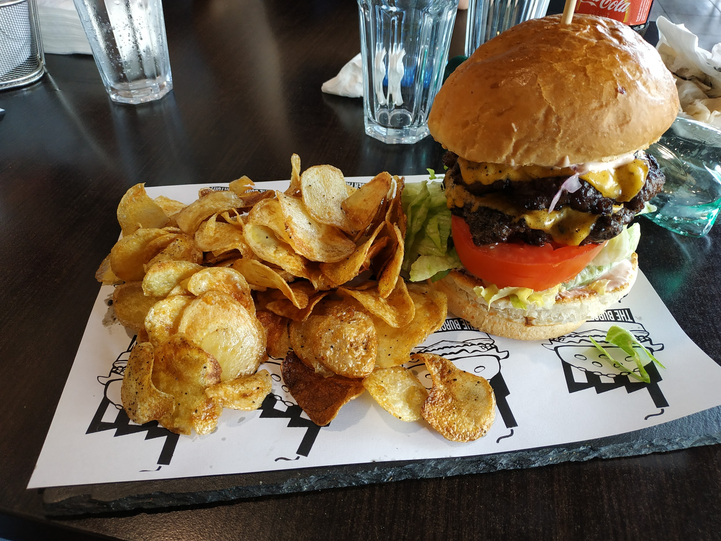 Burger and chips at a burger place in Sofia