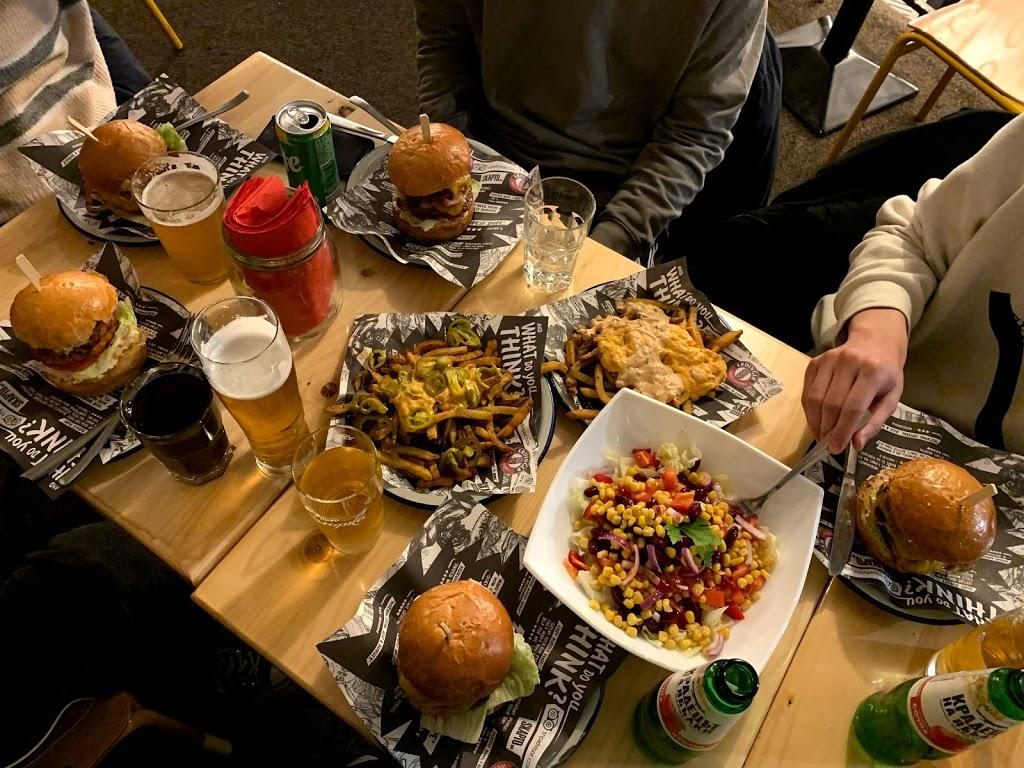 Burgers, fries and beers at a burger place in Sofia