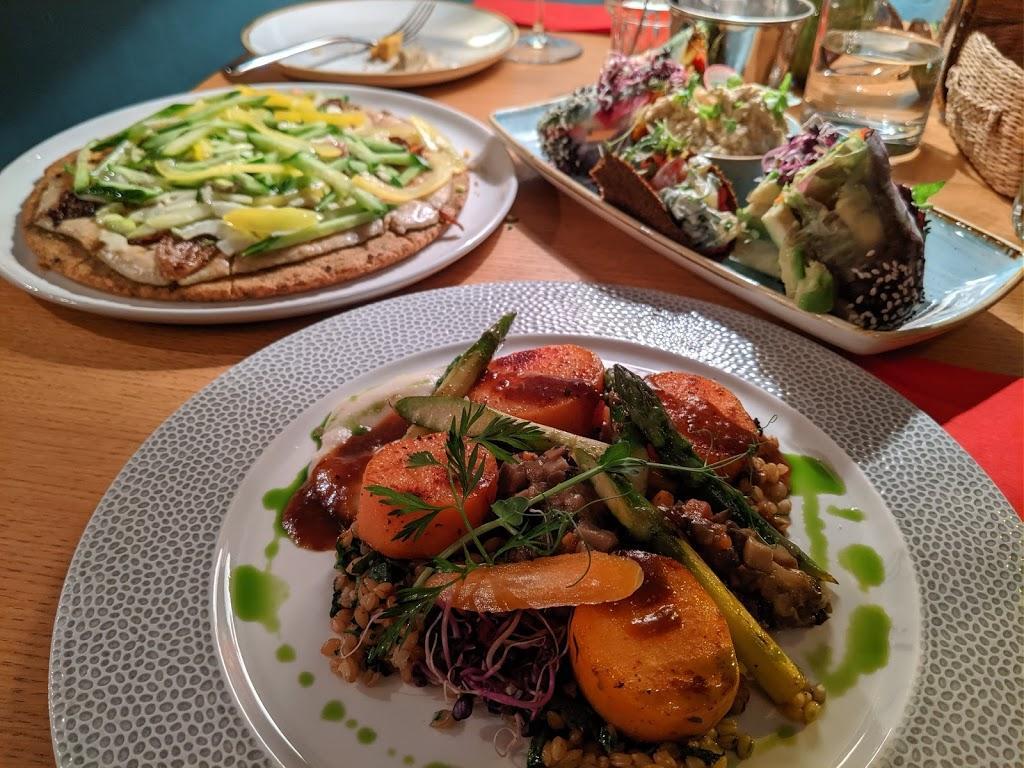 Vegan dishes at a vegan and vegetarian restaurant in Sofia