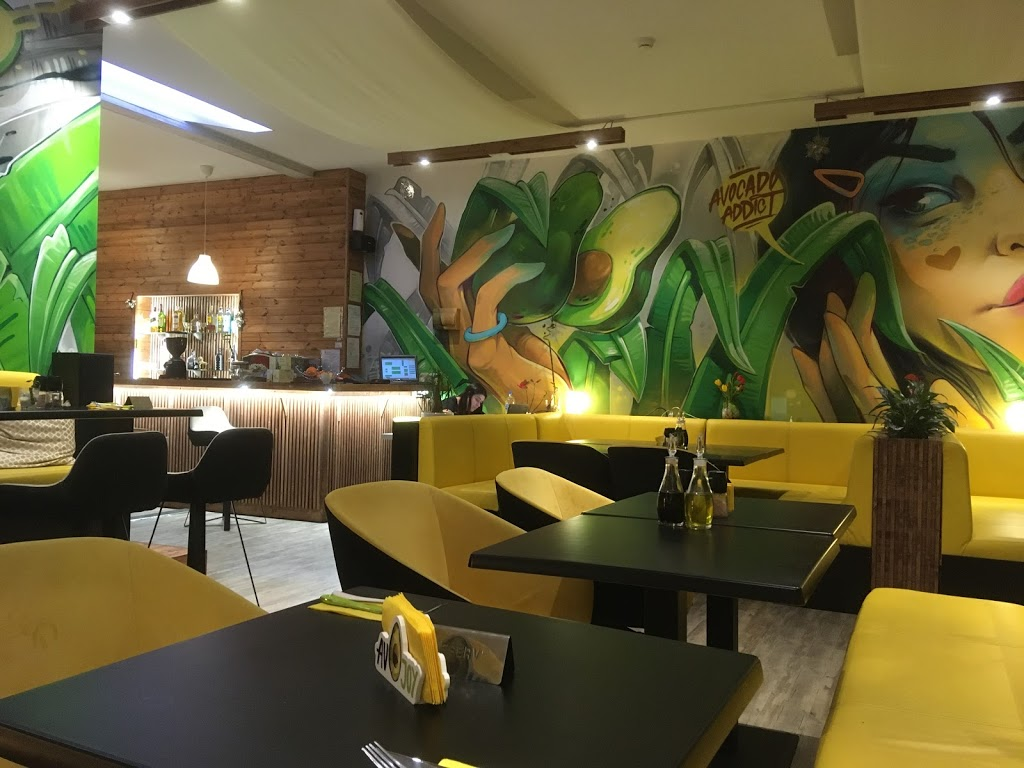 Interior of a restaurant in Sofia focused entirely on avocados