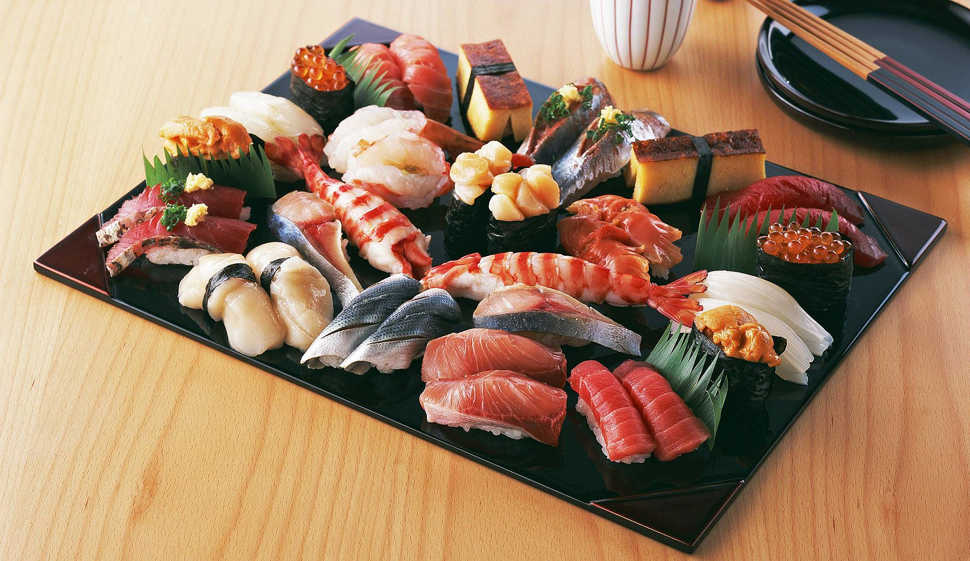 A sushi platter at a sushi restaurant in Sofia