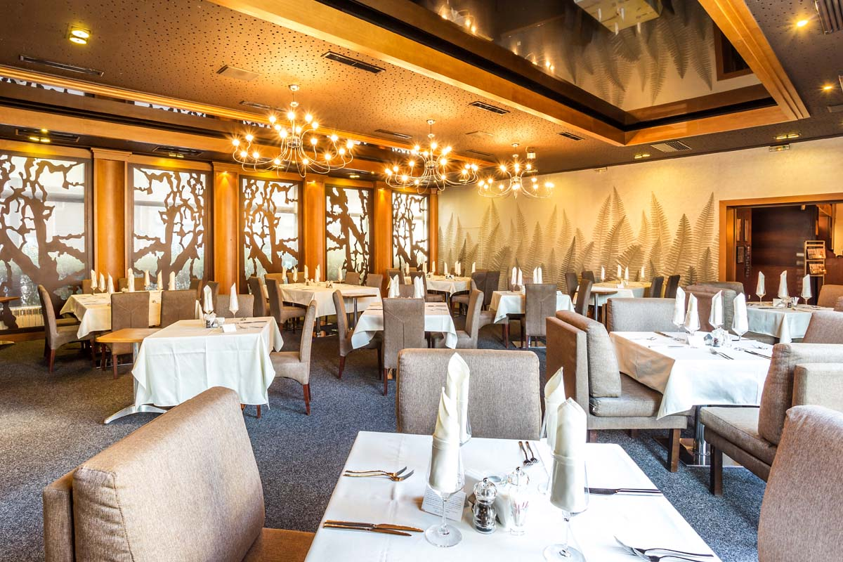 Interior of a fine dining restaurant in Sofia