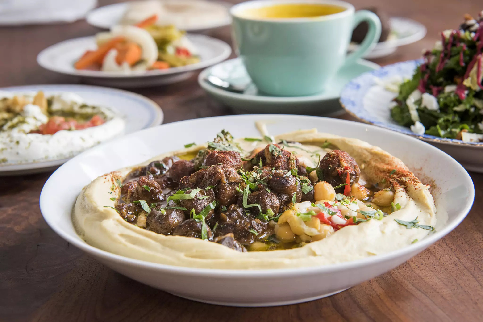 Hummus dishes at a hummus restaurant