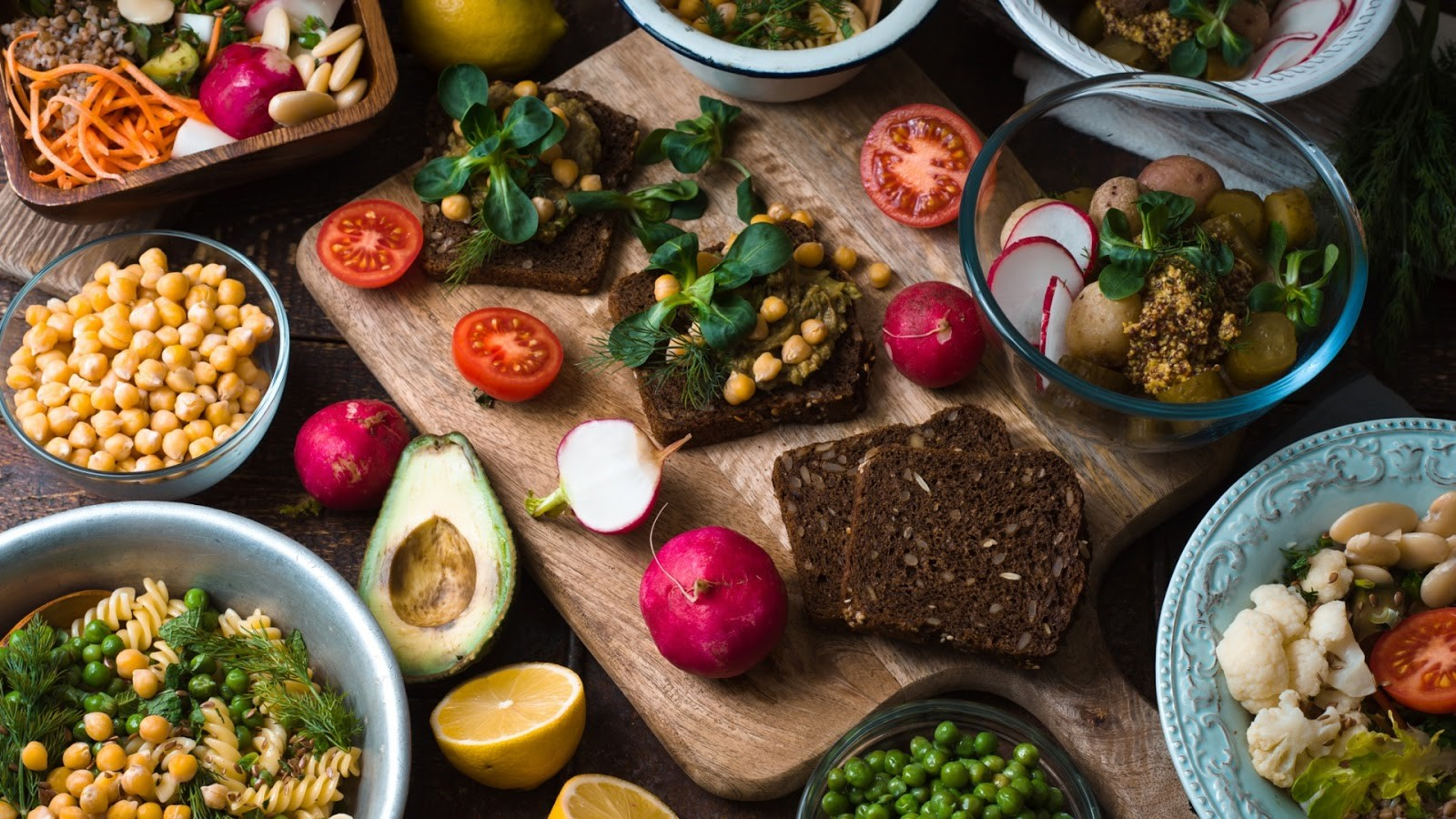 A collection of vegan and vegetarian dishes